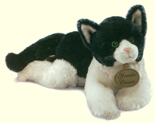 Lifelike lying plush black & white cat from the Russ Berrie Yomiko Classics