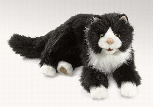 Black Cat With White Paws Stuffed Animal