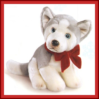 Stuffed Husky Puppy with Velvet Bow
