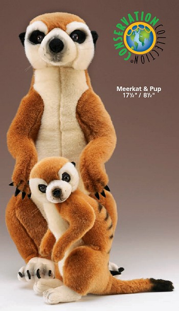 Wildlife Artists Stuffed Plush Meerkat and Pup