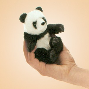 Folkmanis Stuffed Plush Mini Panda Finger Puppet