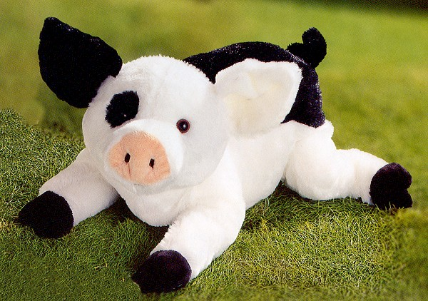 Stuffed Black & White Pig by Gund